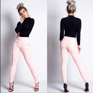 Trina Pink Pearl Embellished Jeggings